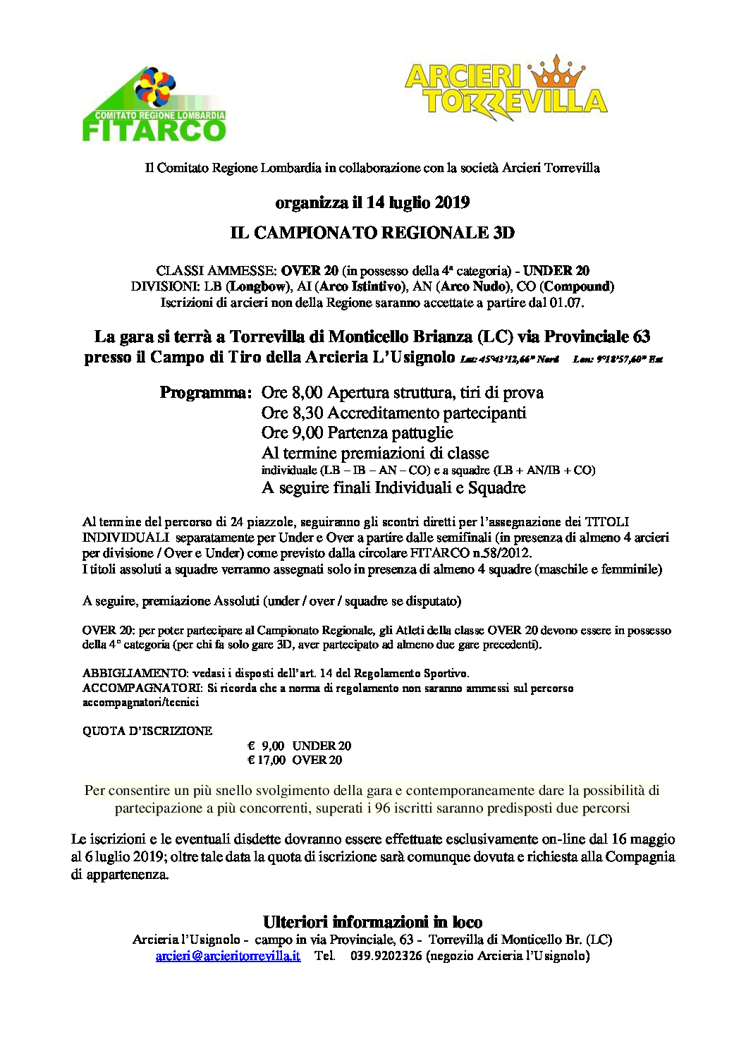 Calendario Gare Fitarco.3d Fitarco Campionato Regionale Del 14 Luglio 2019